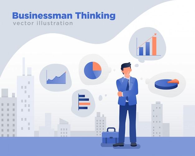 Illustration de pensée homme d'affaires