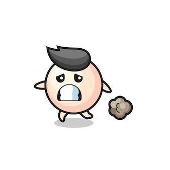 Illustration de la perle qui court dans la peur, design de style mignon pour t-shirt, autocollant, élément de logo