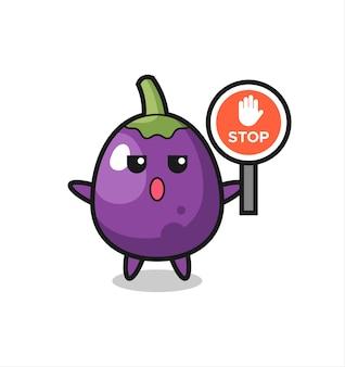 Illustration de personnage d'aubergine tenant un panneau d'arrêt, design de style mignon pour t-shirt, autocollant, élément de logo