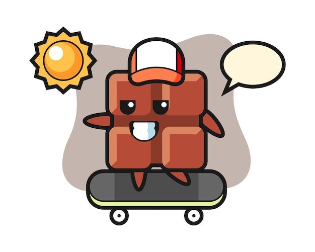 Illustration de personnage de barre de chocolat monter une planche à roulettes, style kawaii mignon.
