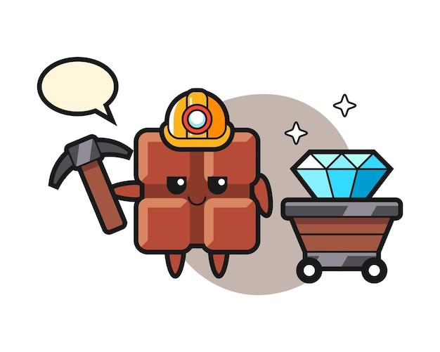 Illustration de personnage de barre de chocolat en tant que mineur, style kawaii mignon.