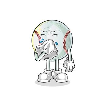 Illustration de personnage de baseball mouche nez