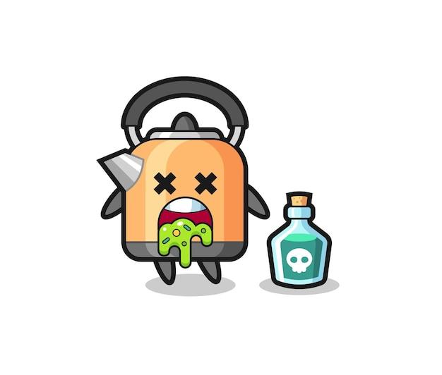 Illustration d'un personnage de bouilloire vomissant à cause d'un empoisonnement, design de style mignon pour t-shirt, autocollant, élément de logo