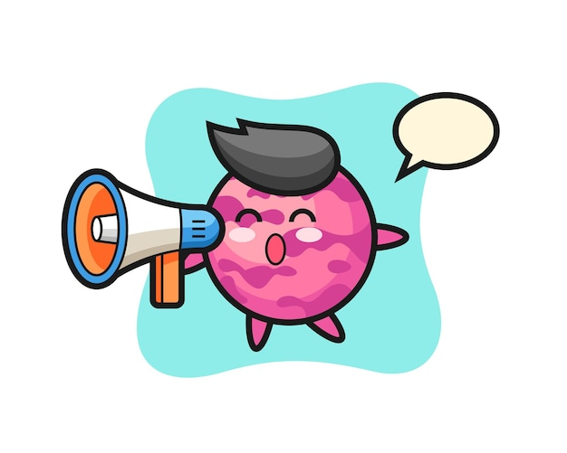 Illustration de personnage de boule de crème glacée tenant un mégaphone, design de style mignon pour t-shirt, autocollant, élément de logo