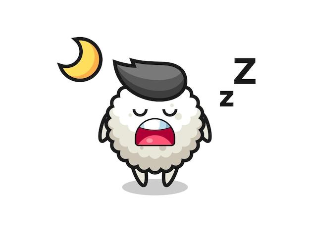 Illustration de personnage de boule de riz dormant la nuit, design de style mignon pour t-shirt, autocollant, élément de logo
