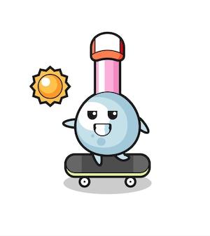 Illustration de personnage de bourgeon de coton monter une planche à roulettes, design de style mignon pour t-shirt, autocollant, élément de logo