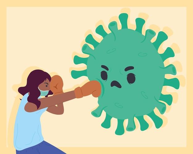 Illustration de personnage de boxe afro femme vs particule