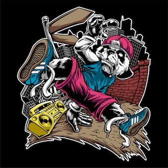 Illustration personnage break dance musique panda - vecteur