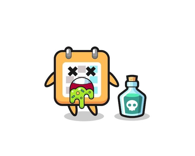 Illustration d'un personnage de calendrier vomissant à cause d'un empoisonnement, design de style mignon pour t-shirt, autocollant, élément de logo