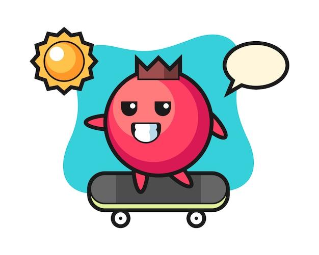 Illustration de personnage de canneberge monter une planche à roulettes, style mignon, autocollant, élément de logo
