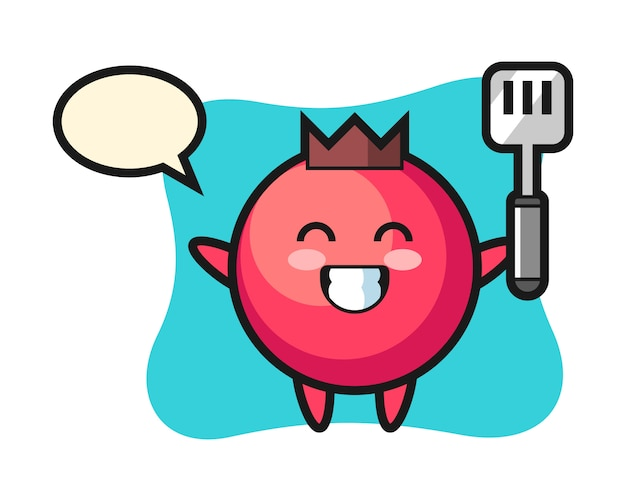 Illustration de personnage de canneberge en tant que chef cuisine, style mignon, autocollant, élément de logo