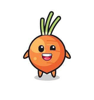 Illustration d'un personnage de carotte avec des poses maladroites, design de style mignon pour t-shirt, autocollant, élément de logo