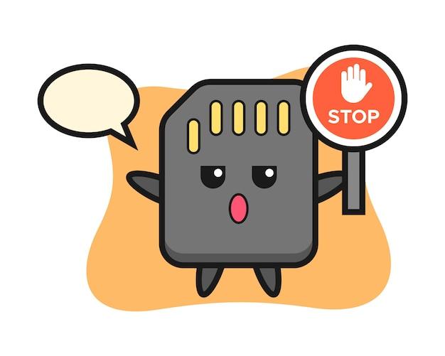 Illustration de personnage de carte sd tenant un panneau d'arrêt, conception de style mignon pour t-shirt