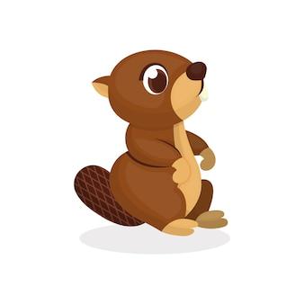 Illustration d'un personnage de castor mignon avec un style de bande dessinée