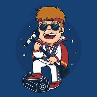 Illustration de personnage de chanteur homme
