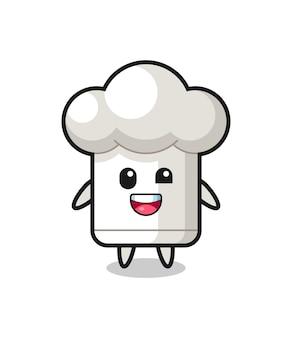 Illustration d'un personnage de chapeau de chef avec des poses maladroites, design de style mignon pour t-shirt, autocollant, élément de logo