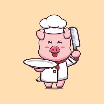 Illustration de personnage de chef de cochon mignon