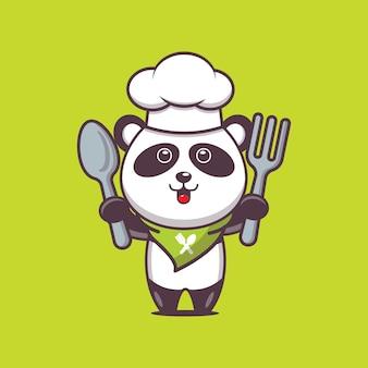 Illustration de personnage de chef panda mignon