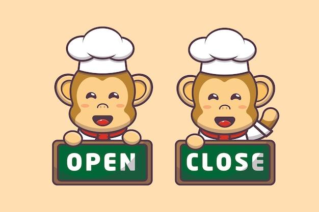 Illustration de personnage de chef singe mignon