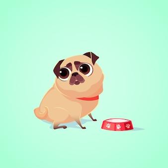 Illustration de personnage de chien mignon vector. style de bande dessinée. pitié chiot carlin affamé avec bol. animal de compagnie.