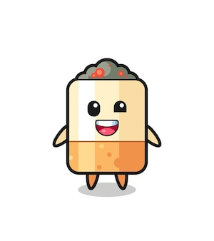 Illustration d'un personnage de cigarette avec des poses maladroites, design mignon