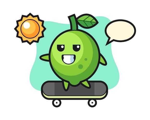 Illustration de personnage de citron vert monter une planche à roulettes, style mignon, autocollant, élément de logo