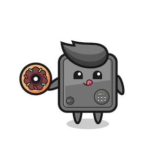 Illustration d'un personnage de coffre-fort mangeant un beignet, design de style mignon pour t-shirt, autocollant, élément de logo