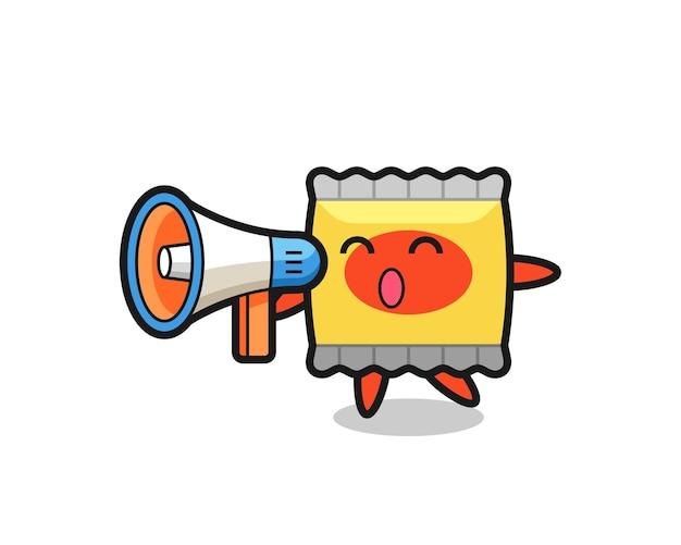 Illustration de personnage de collation tenant un mégaphone, design de style mignon pour t-shirt, autocollant, élément de logo