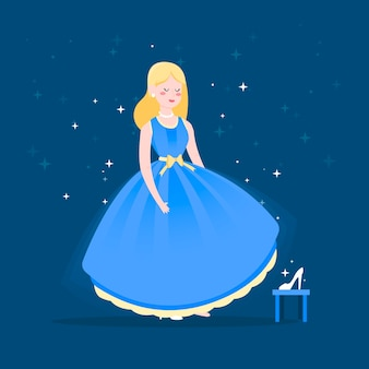 Illustration de personnage de conte de fées cendrillon