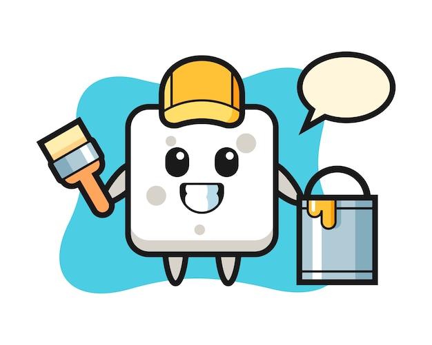 Illustration de personnage de cube de sucre en tant que peintre, style mignon pour t-shirt, autocollant, élément de logo