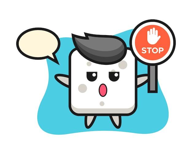 Illustration de personnage de cube de sucre tenant un panneau d'arrêt, style mignon pour t-shirt, autocollant, élément de logo
