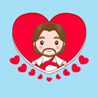 Illustration de personnage de dessin animé chibi jésus-christ