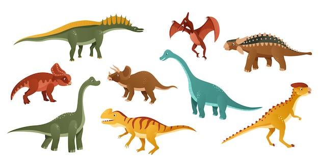Illustration de personnage de dessin animé de dinosaures colorés