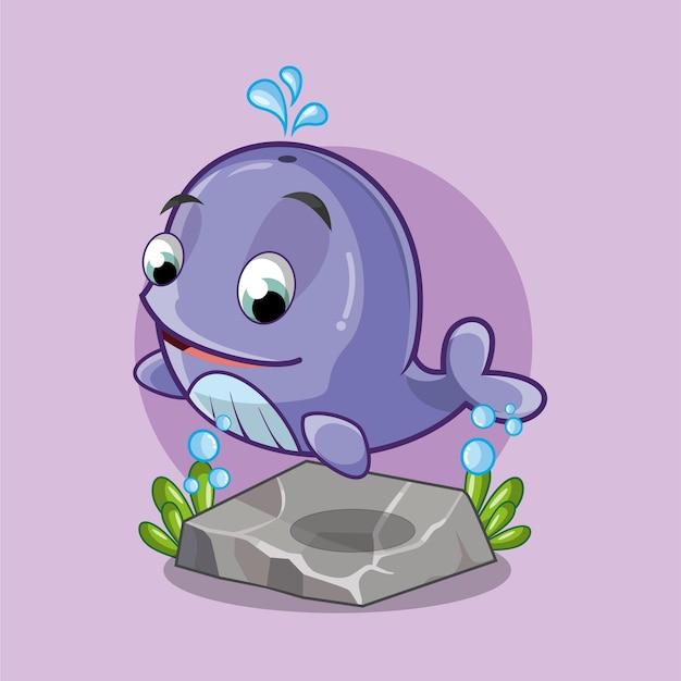 Illustration de personnage de dessin animé mignon bébé baleine