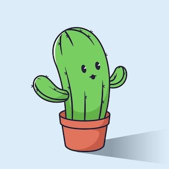 Illustration de personnage de dessin animé mignon cactus