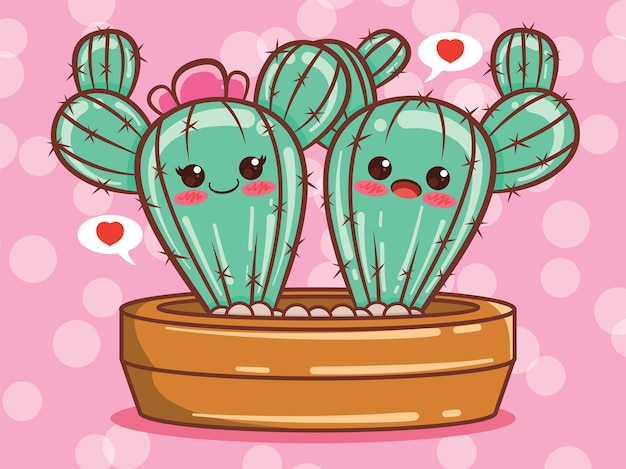Illustration et personnage de dessin animé mignon couple cactus.