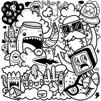 Illustration de personnage de dessin animé mignon doodles dessinés à la main