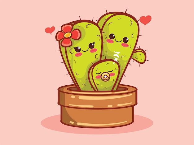 Illustration et personnage de dessin animé mignon famille cactus.