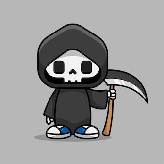 Illustration de personnage de dessin animé mignon faucheuse