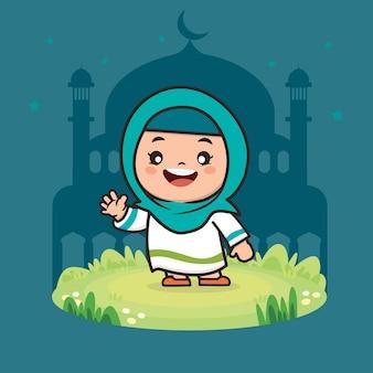 Illustration de personnage de dessin animé mignon fille musulmane ramadan