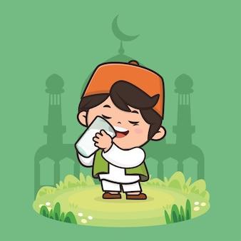 Illustration de personnage de dessin animé mignon garçon musulman ramadan