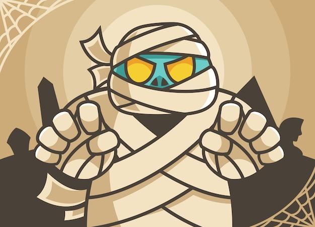 Illustration de personnage de dessin animé de momie effrayante