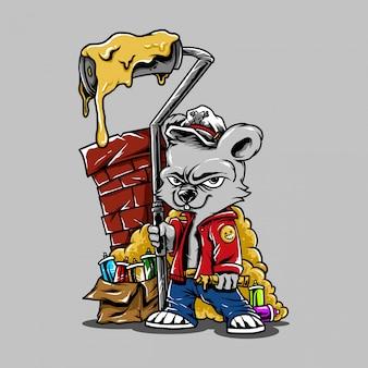 Illustration personnage de dessin animé ours graffiti