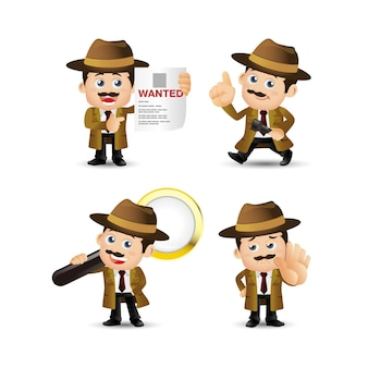 Illustration de personnage détective isolé sur fond blanc