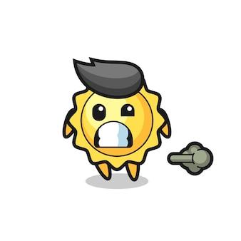 Illustration d'un personnage du soleil vomissant à cause de l'empoisonnement de l'illustration du dessin animé du soleil faisant un pet, design de style mignon pour t-shirt, autocollant, élément de logo