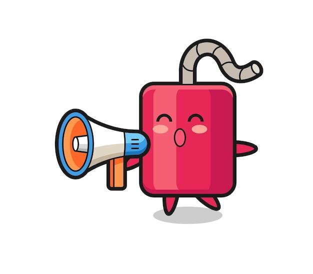 Illustration de personnage de dynamite tenant un mégaphone, design de style mignon pour t-shirt, autocollant, élément de logo