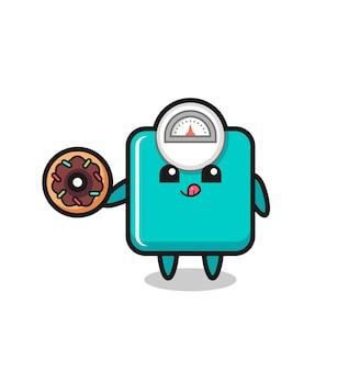 Illustration d'un personnage d'échelle de poids mangeant un beignet, design de style mignon pour t-shirt, autocollant, élément de logo