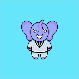 Illustration de personnage d'éléphant d'homme d'affaires mignon de style dessin animé