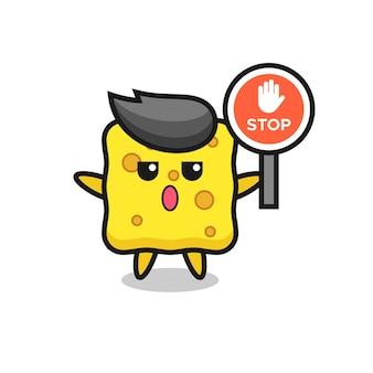 Illustration de personnage en éponge tenant un panneau d'arrêt, design de style mignon pour t-shirt, autocollant, élément de logo