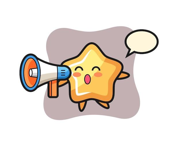 Illustration de personnage étoile tenant un mégaphone, design de style mignon pour t-shirt, autocollant, élément de logo